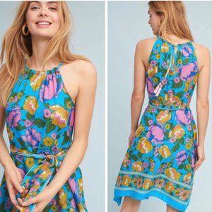 Anthro Dinan Halter Dress Handkerchief Hem Floral